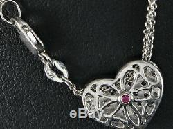 $3,250 Roberto Coin Round Pave Diamond Heart Shape Pendant Double Chain Necklace