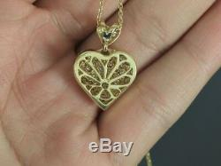 $3,550 18K Yellow Gold Round Pave Diamond Heart Pendant 16'' Chain Necklace