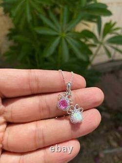 3 CT Heart Opal & Pink Sapphire Dog Paw Pendant With Chain 14K White Gold Finish