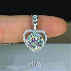3. Ct 8mm Round Cut Forever Brilliant Diamond Necklace Pendant 14K White Gold FN
