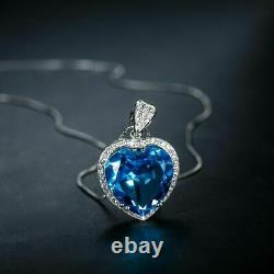 4Ct Heart Cut Blue Topaz Solitaire Womens Pendant Free Chain 14K White Gold Over
