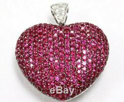 4.15 ct tw Natural Deep Red Ruby & Diamond Solid 14k White Gold Heart Pendant
