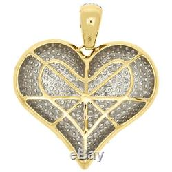 4.25 CT Diamond 3D Puff Heart Pendant Love Charm Necklace 14k Yellow Gold Over