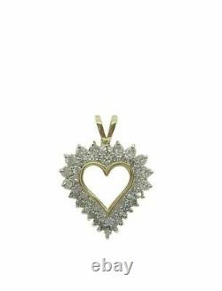 5Ct Round Cluster Diamond Heart Love Pendant 18 Necklace 14k Yellow Gold Finish