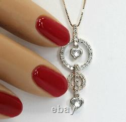 70CT Diamond hearts circles pendant necklace 18K rose/withgold 49 round brilliant