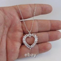 925 STERLING SILVER OPEN HEART NECKLACE PENDANT With 3.50 CT BAGUETTE DIAMOND/18'