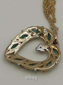 9ct Yellow Gold Emerald And Diamond Heart Pendant Necklace