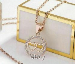 Anniversary Circle Heart Pendant Without Chain 1.44Ct Diamond 14K Rose Gold Over