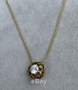Antique 14K Yellow Gold Solitaire Diamond Openwork Scroll Pendant Chain Necklace