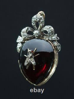 Antique Early Victorian Rare Natural Garnet And Diamond Heart Fly Pendant