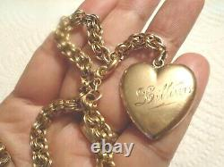 Antique Victorian 10K Gold Watch Chain Necklace with 10K Gold Puffy Heart Pendant