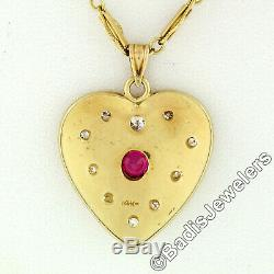 Antique Victorian 14k Gold Red Stone & Diamond Heart Pendant Necklace 19 Chain