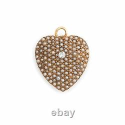 Antique Victorian Heart Pendant Pave Seed Pearls Diamond 14k Rose Gold Vintage