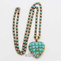 Antique Victorian Necklace Pendant 15k Gold Turquoise Diamond Pearl Heart (6110)