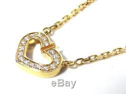 Auth Cartier C Heart Necklace 18K Yellow Gold Diamond Pendant Top Charm
