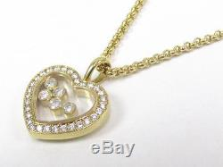 Auth Chopard 18K Yellow Gold Happy Diamond Heart Motif Necklace Pendant