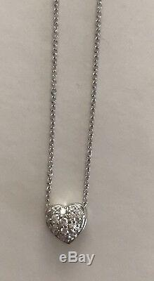 Authentic 18kt WHITE gold pave' diamond heart 0.15 ct Necklace by Roberto Coin
