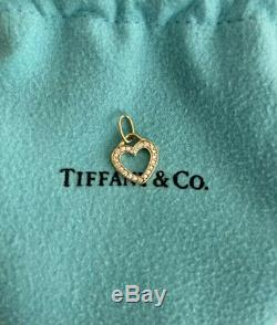 Authentic Tiffany & Co 18k Yellow Gold Diamond Cut Out Open Heart Pendant Charm