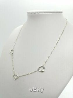 Authentic Tiffany & Co. 3 Open Heart Pendant Necklace Sterling Silver 16inch