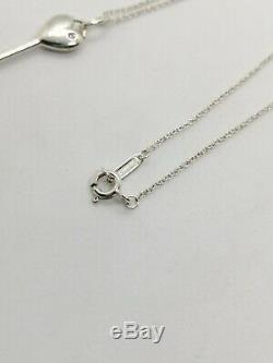 Authentic Tiffany & Co Heart Key Diamond Pendant Necklace Sterling Silver 16