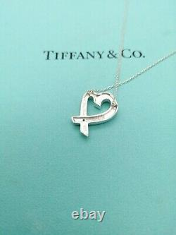 Authentic Tiffany & Co. Loving Heart Diamond Pendant Necklace Sterling Silver 17