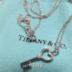 Authentic Tiffany & Co Silver Small Heart Key Pendant 16 Necklace withBOX