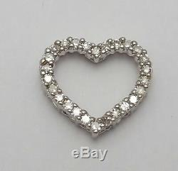 Beautiful 14K Solid White Gold Heart Shape Charm Pendant With Diamonds India
