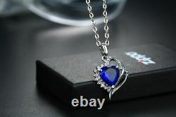 Beauty Engagement Wedding Pendant Without Chain 14K White Gold 2.45 Ct Sapphire
