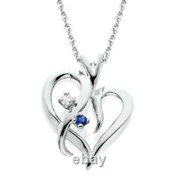 Blue Sapphire & Diamond Heart Pendant 14 KT White Gold With 18 Chain