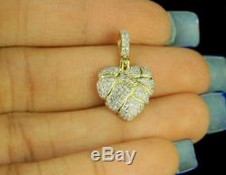 Broken Cracked Heart Pendant 14k Yellow Gold Over Love Charm 1.00 Carat Diamonds