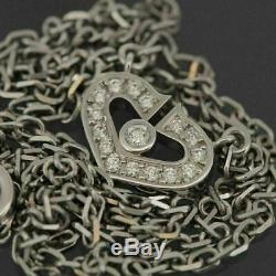 Cartier 18k White Gold Diamonds Heart Symbols Necklace With Certificate & Box