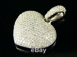 Certified 1.50Ct White Round Diamond 14K White Gold Puffed Cluster Heart Pendant
