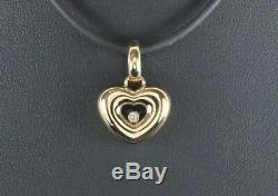 Chopard 18K Yellow Gold Happy Floating Diamond Heart Pendant Cord Necklace MD SZ