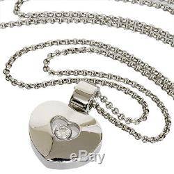 Chopard 1P Happy Diamond Heart Pendant Necklace in 18K White Gold C8987