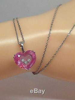 Chopard So Happy Pink Heart & Floating Diamonds Pendant & Chain 18ct Gold