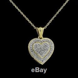 Christmas Special Beautiful Heart Pendant 10K Gold Real Diamond WithNecklace Chain