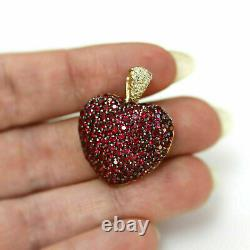 Cluster Heart Necklace Pendant 1.20Ct Round Ruby & Diamond 14K Yellow Gold Over