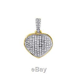 Diamond Heart Pendant 14K Yellow Gold Domed Charm Necklace with Chain 0.18 Tcw