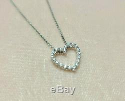 Diamond Heart Pendant 14k Solid White Gold with 18 inch White Gold chain