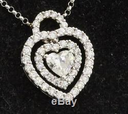 EGL USA 18K WG lovely 1.14CT diamond heart pendant necklace with. 55CT Heart ctr