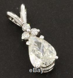 EGL USA certified 14K white gold. 96CT Pear diamond pendant with. 89CT center