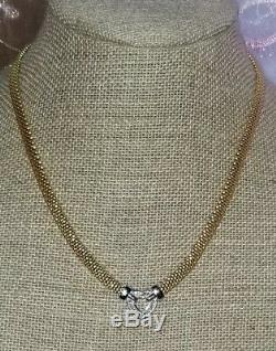 Effy D'oro 18k Yellow Gold-Sterling silver mesh Diamond heart necklace