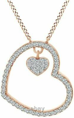 Engagement Heart Shape Pendant Without Chain 14K Rose Gold Plated 2.3 Ct Diamond