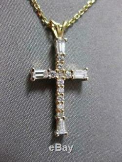 Estate 0.42ct Baguette & Round Diamond 14k Yellow Gold Over Cross Pendant