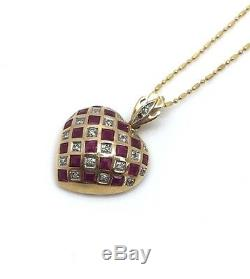 Estate 14k Yellow Gold Red Ruby & Diamond Heart Pendant Necklace 16 6.4 Grams