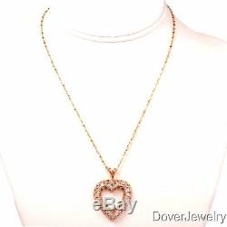 Estate 1.50ct Diamond 14K Yellow Gold Heart Pendant Necklace 12.4 Grams NR