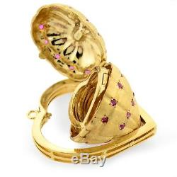 Estate RARE Opening Heart Photo Locket Pendant or Charm 14k Gold & Ruby