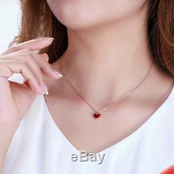 G18K Rose Gold Natural Carnelian Heart Necklace Pendant 15.99 Inches