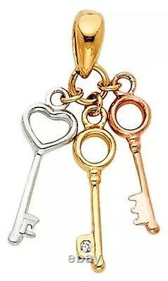 GOLD 14k key pendant Charm Necklace SOLID REAL heart love simulated diamond