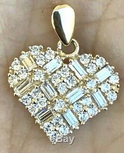 GOLD necklace SET 14k Heart Love Charm Pendant 10k Rolo Chain 18 Gift